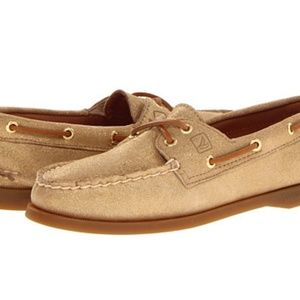 Sperry Topsider gold glitter boat shoes size 8